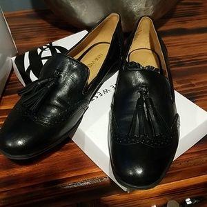 New Nine West Ariel Black Leather Tassel Wing Tip